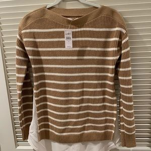NWT LOFT: Boatneck, striped faux layered sweater